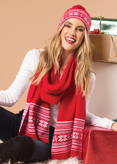 Snowflake Red Scarf