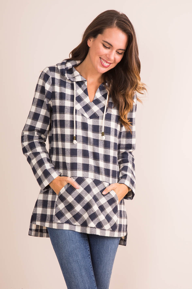 Navy Adventure Plaid Hooded Top