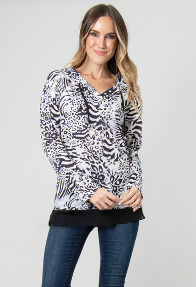 Black and White Feelin' Fierce Chiffon Trim Hooded Top