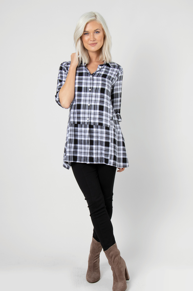 Navy Perfectly Plaid Peplum Top