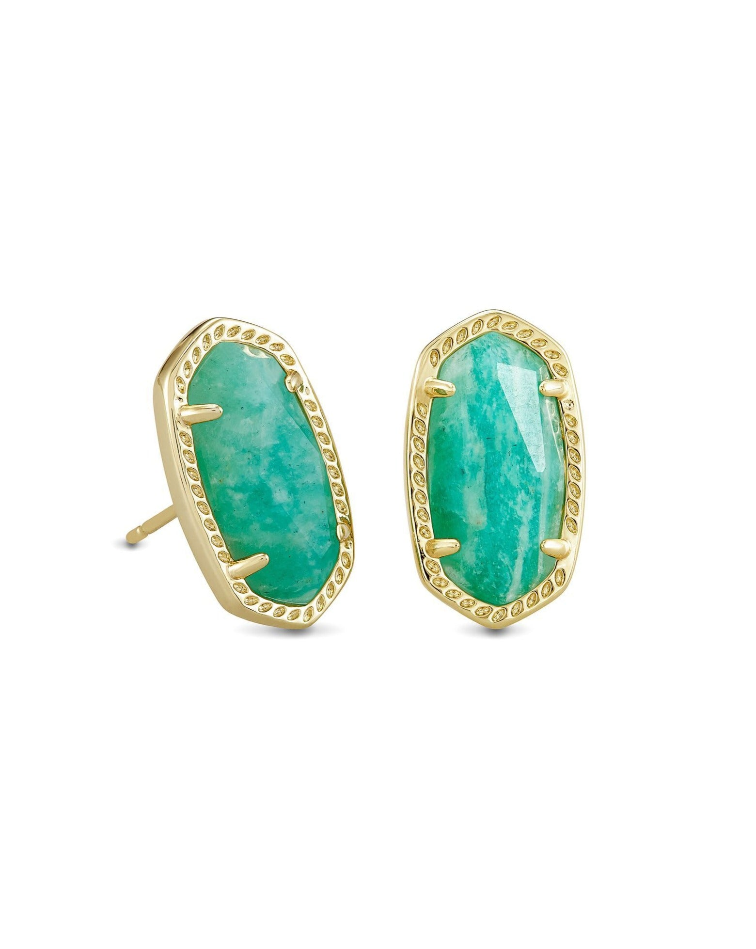 Ellie Earring Gold Dark Teal Amazonite