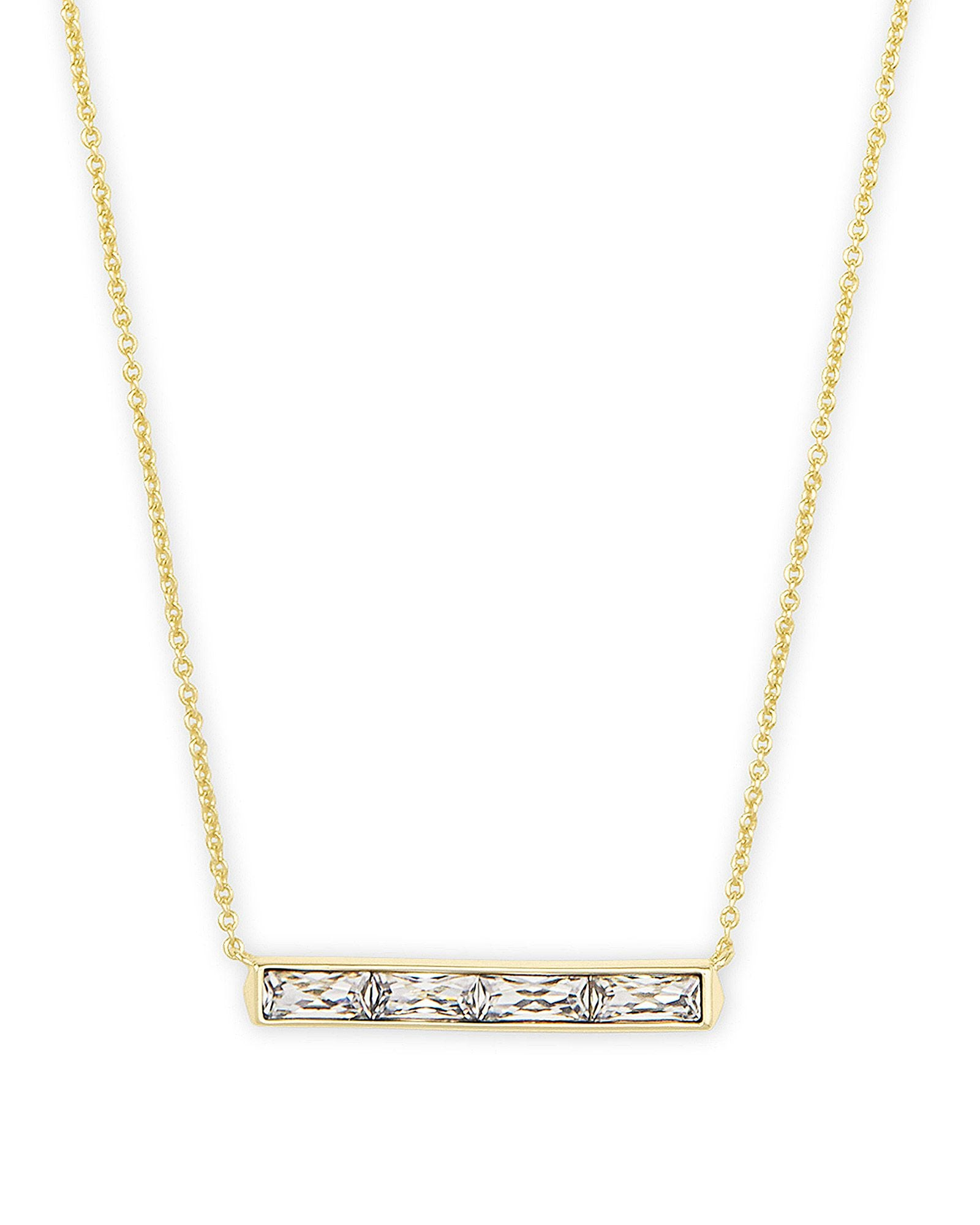 Jack Pendant Necklace Gold White Crystal
