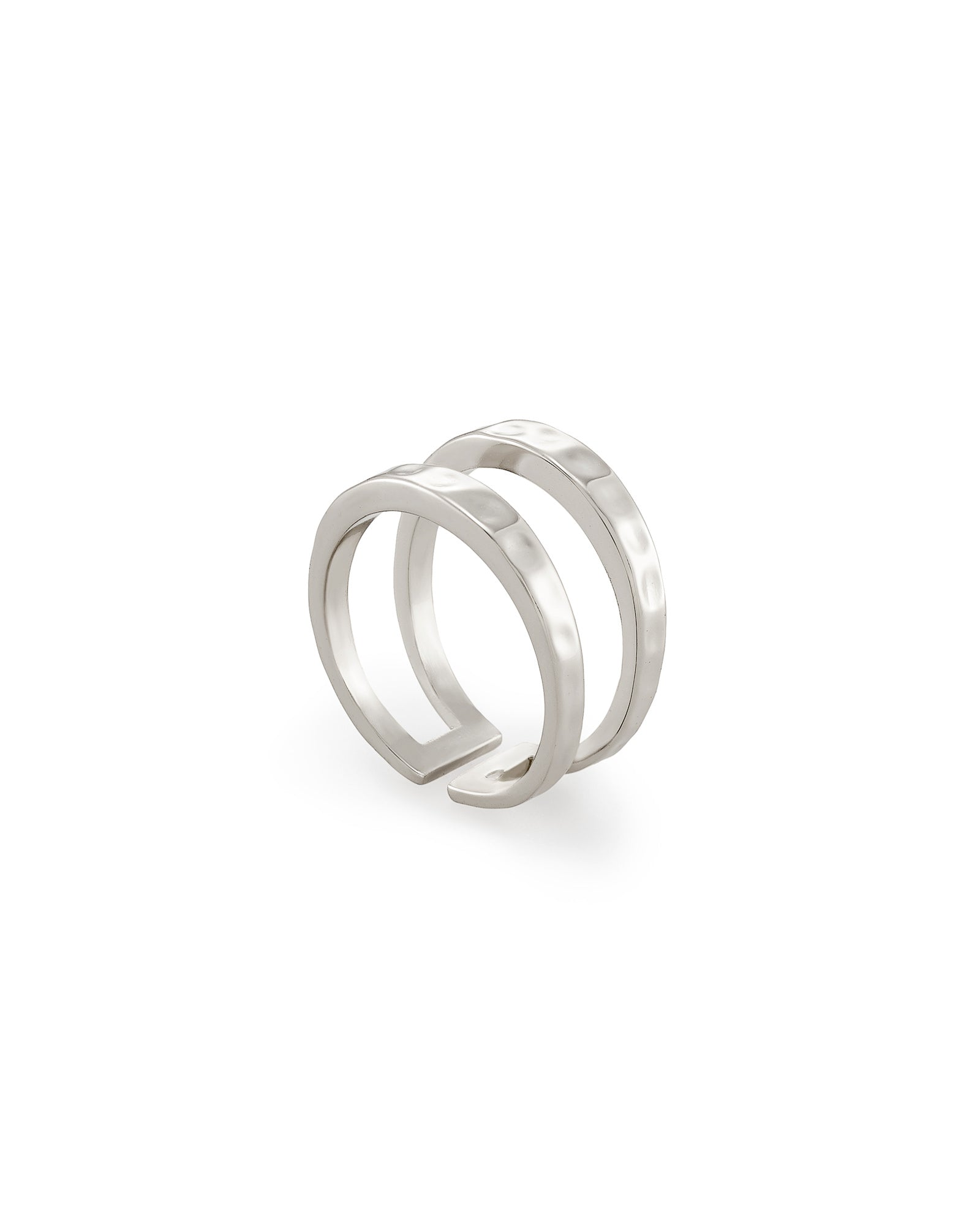 Zorte Double Band Rhodium Ring