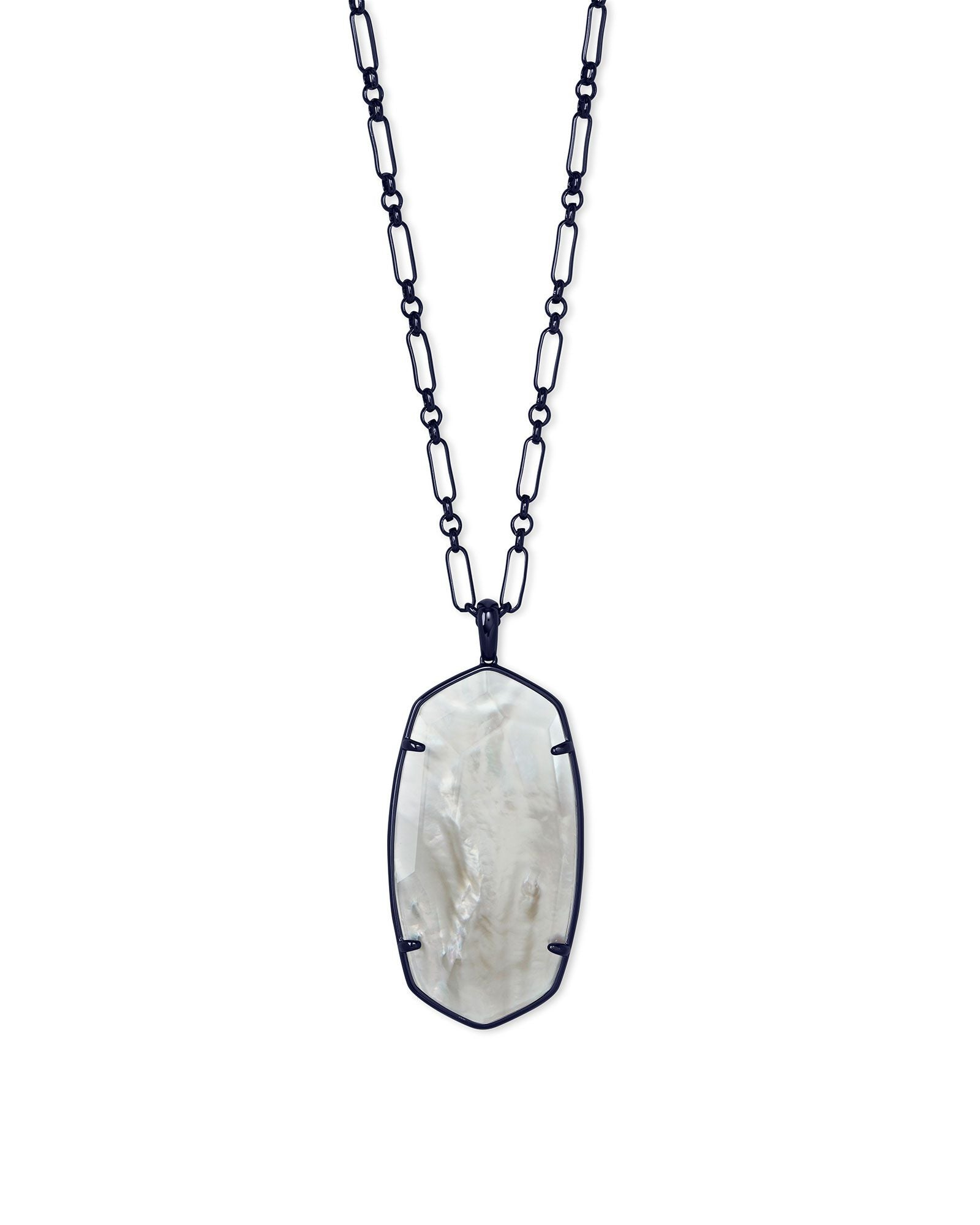 Faceted Reid Necklace Gunmetal Gray Illusion