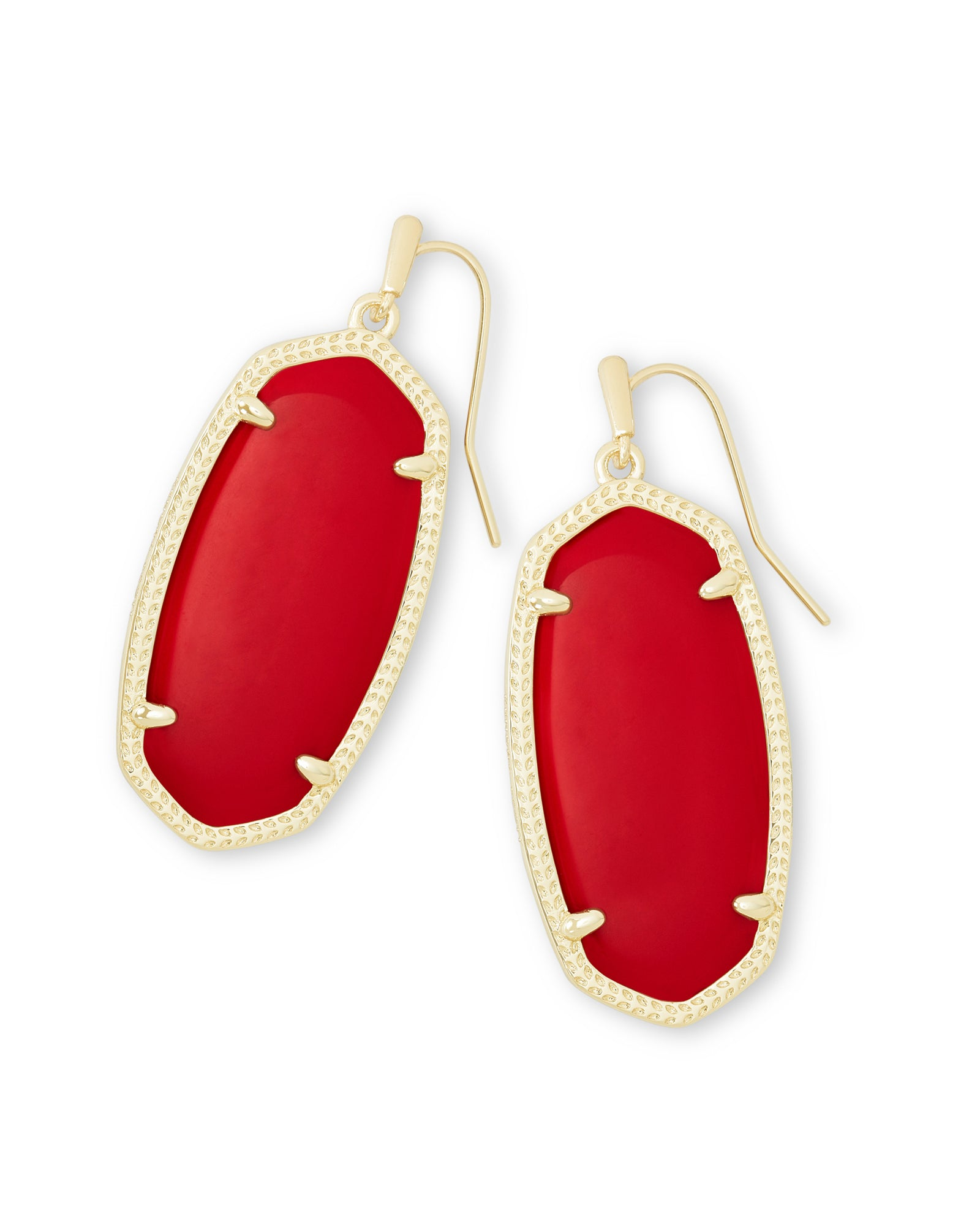 Elle Earrings Gold Bright Red