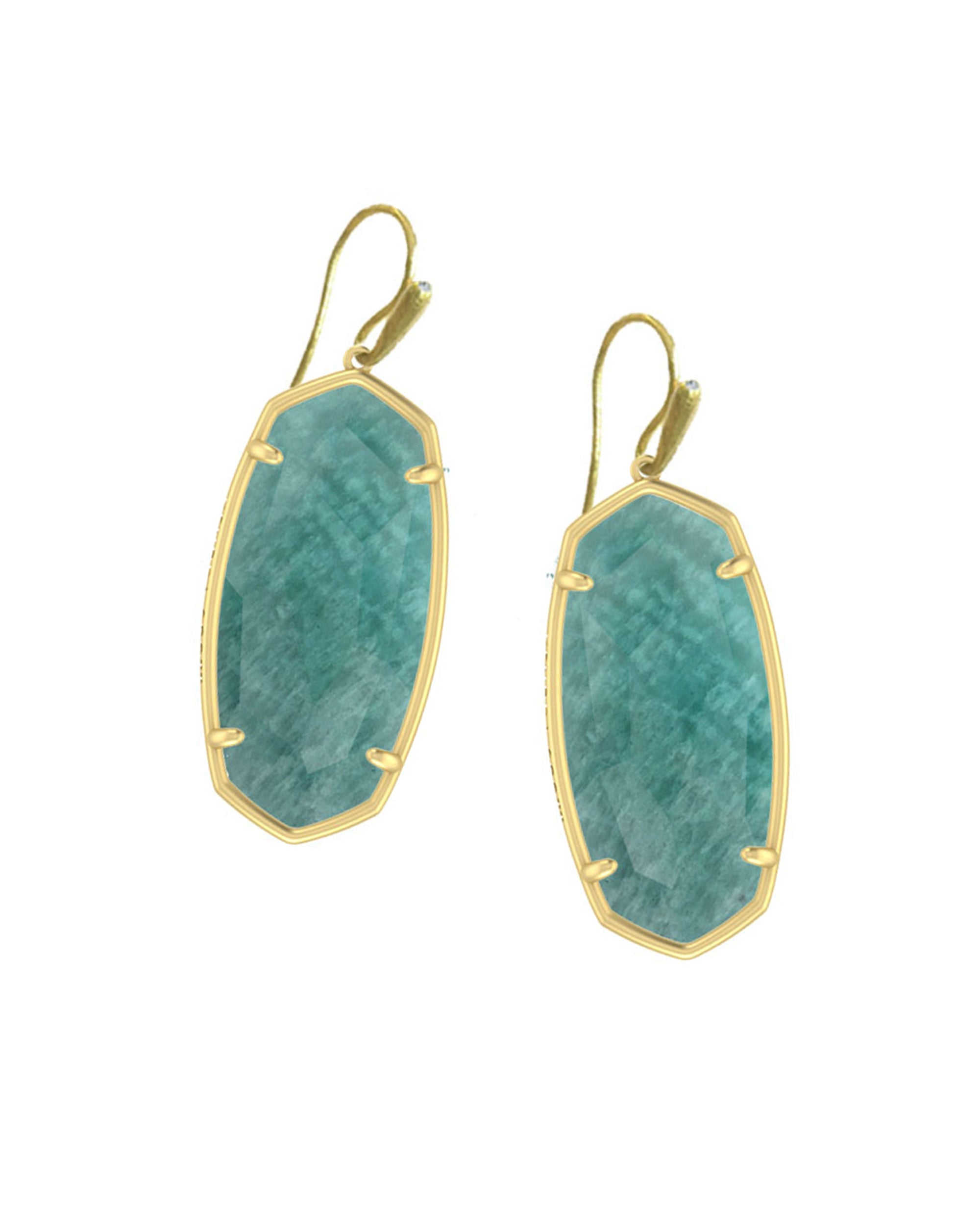 Faceted Elle Earrings Gold Dark Teal Amazonite