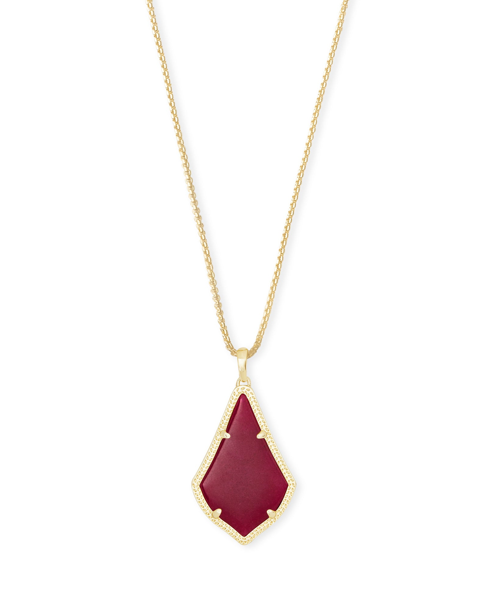 ALEX PENDANT NECKLACE GOLD MAROON JADE