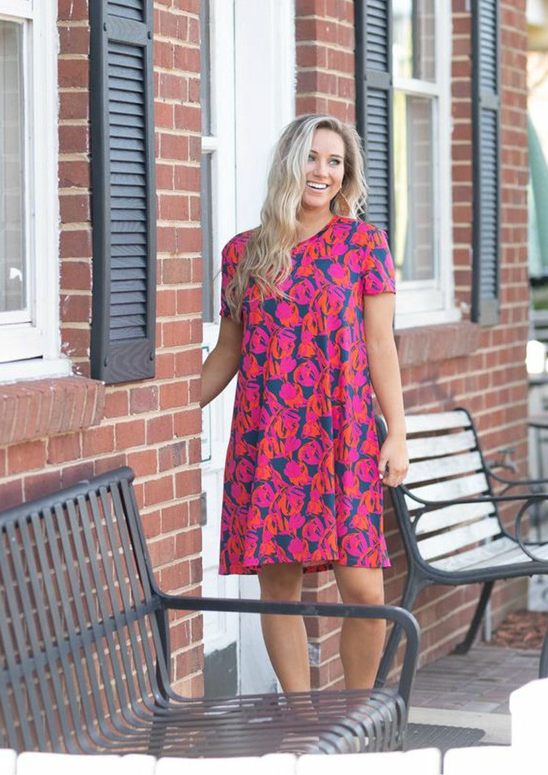 Navy Tulip A Line Dress