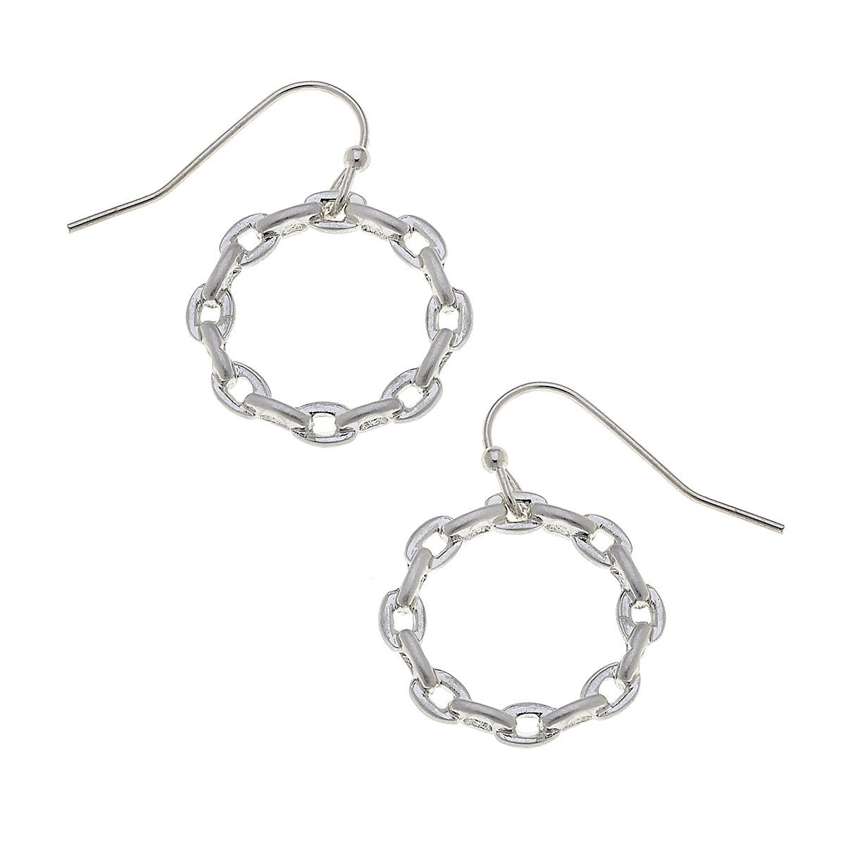 Heidi Hoop Earrings in Worn Silver