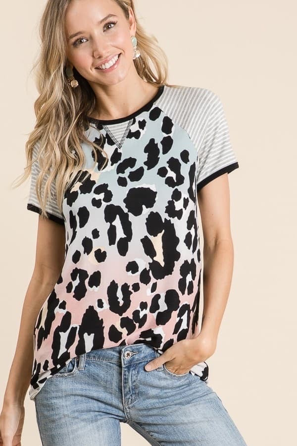 Short Sleeved Leopard Top