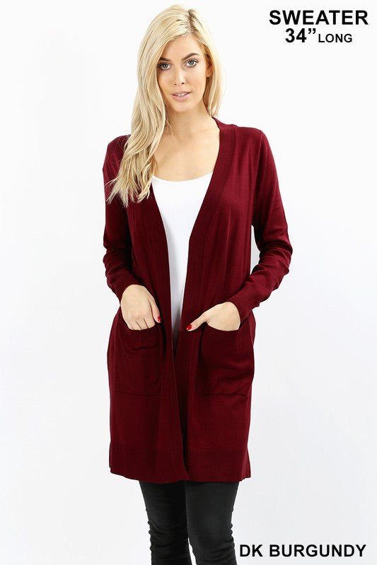 Long Burgundy Cardigan Sweater