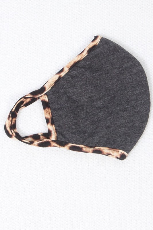 Charcoal Mask with Leopard Trim