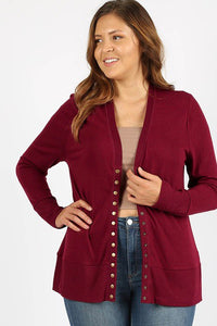 Burgundy Snap Cardigan