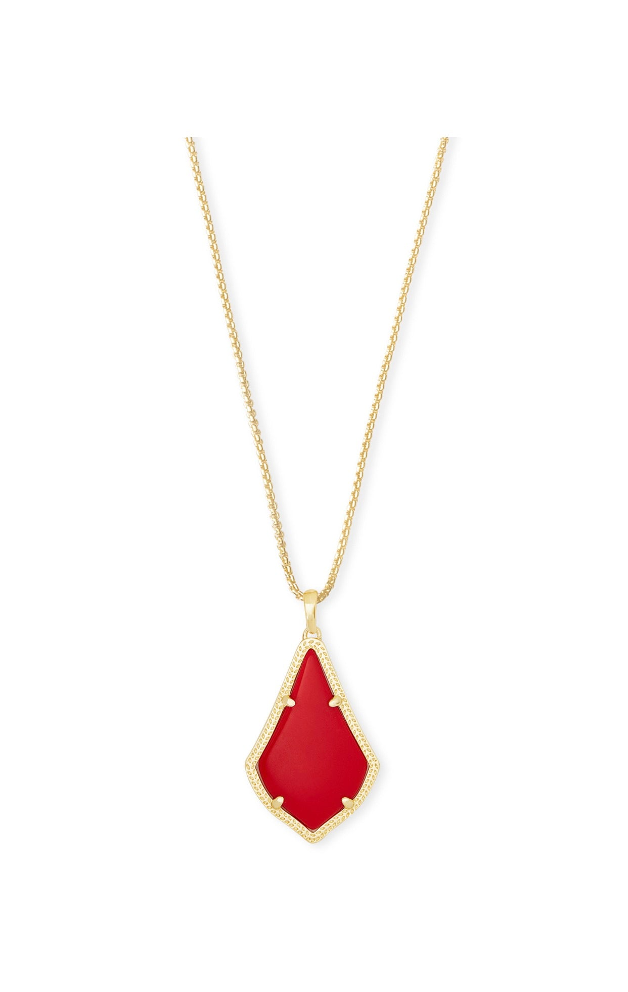 ALEX PENDANT NECKLACE GOLD Bright RED