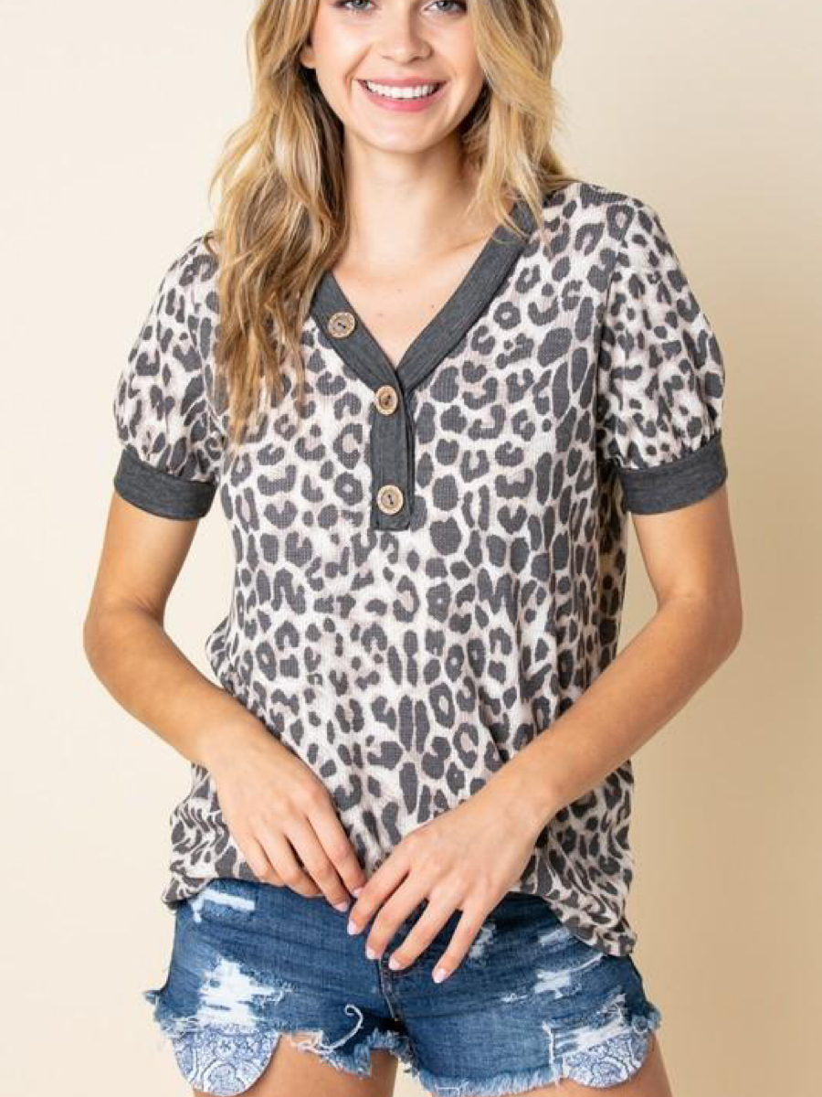 Short Sleeved Leopard Button Top