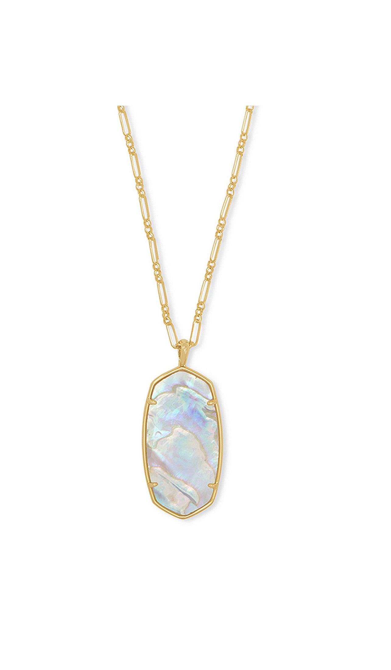 REID PENDANT NECKLACE  Gold Iridescent Abalone