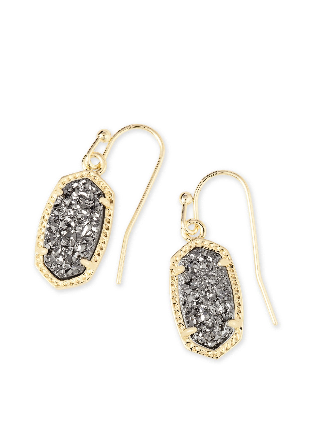 LEE EARRING Gold Platinum Drusy