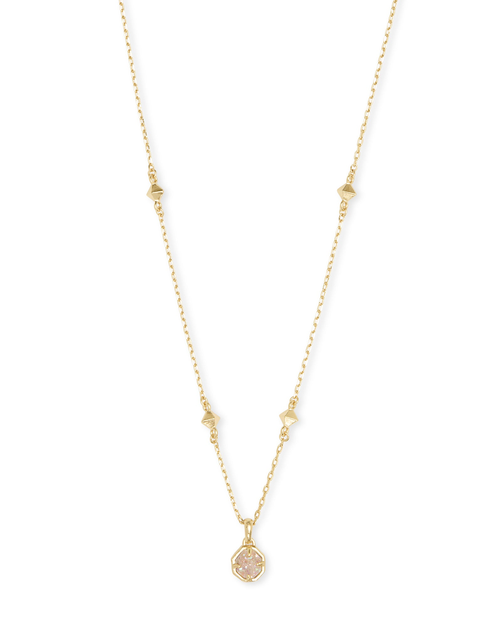 Nola Short Gold Pendant Necklace In Iridescent Drusy