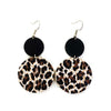 Brown and Black Leopard Dangle Leather Earrings