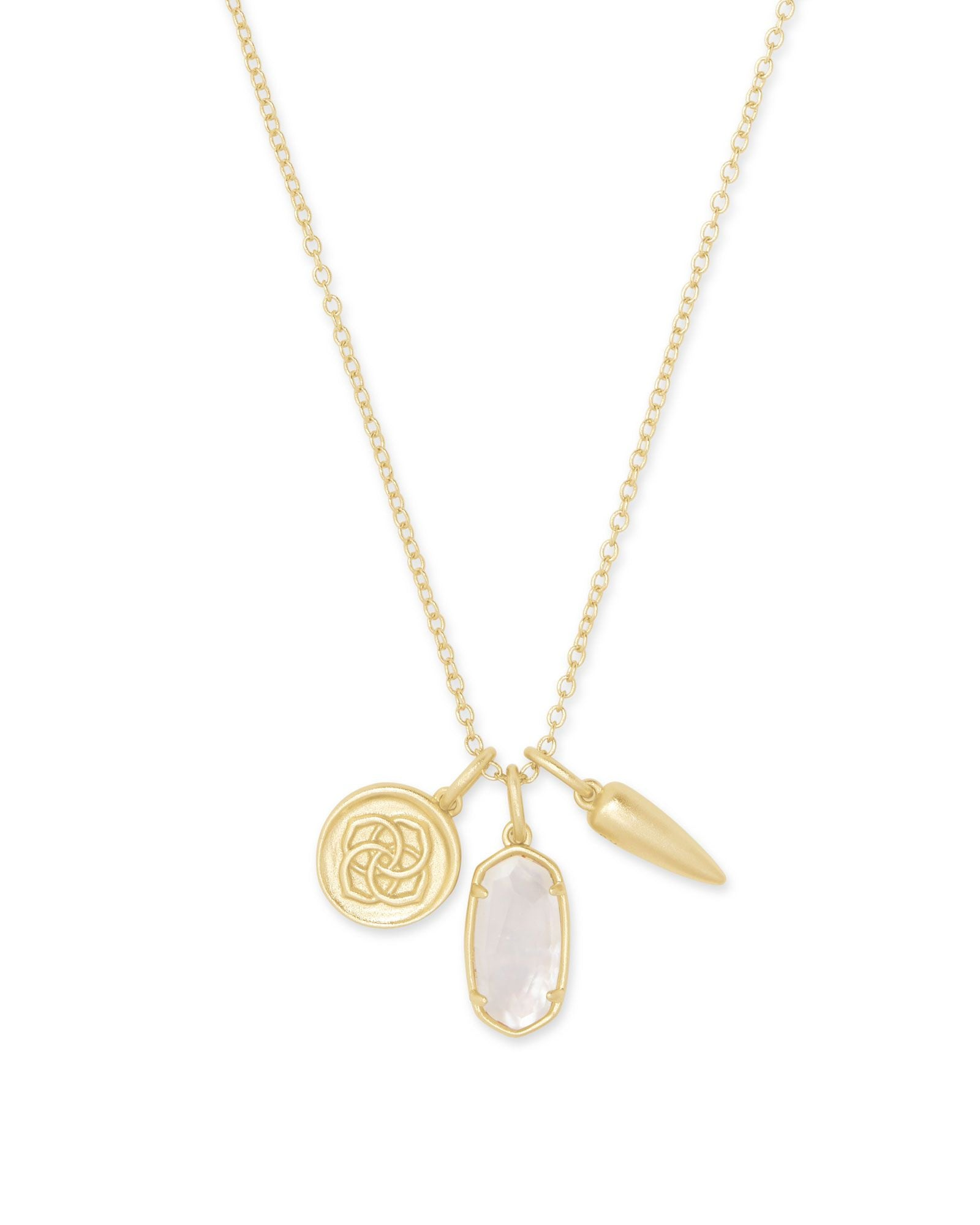 Dira Coin Charm Necklace Gold Ivory Mother of Pearl