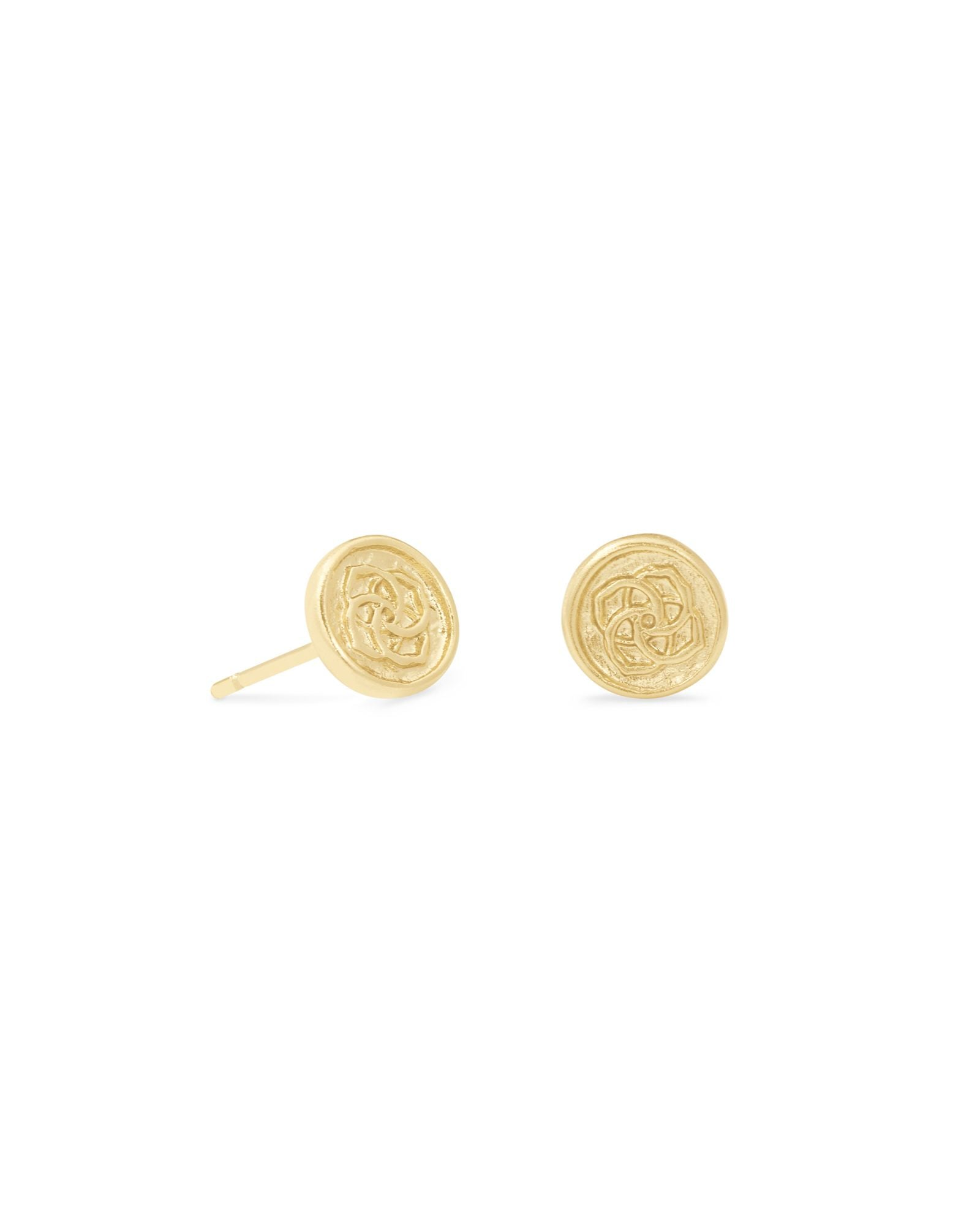 Dira Gold Coin Stud Earrings