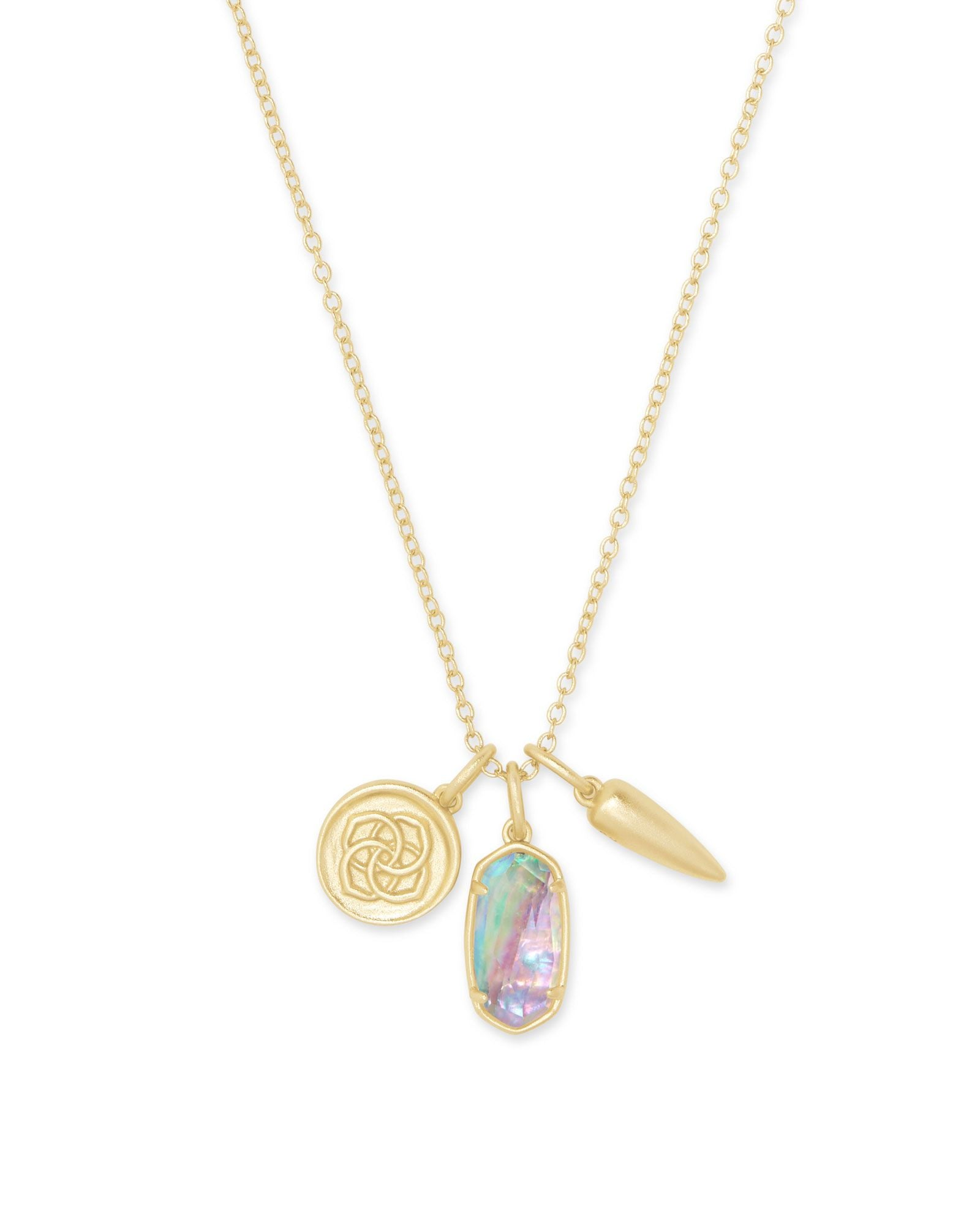 Dira Gold Coin Charm Necklace Lilac Abalone