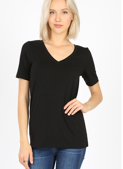Zenana Black Short Sleeved Top