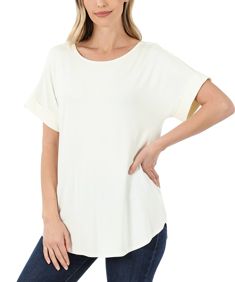 Zenana Ivory Rolled Sleeve Top