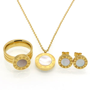 Roman Letter Jewelry Set (Gold, Rose Gold or Silver)