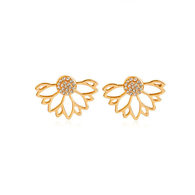 Crystal Flower Cuff Earrings (Gold or Silver)