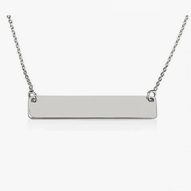 Engravable Bar Necklace (Silver or Gold) - Customize Your Words!