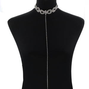 Rhinestone Choker with/without Plunging Necklace (Silver or Gold) - Branded Royalty