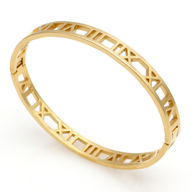 Roman Numeral Bangle (Gold, Rose Gold or Silver) - Branded Royalty