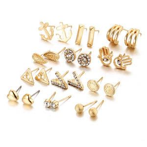Dainty Earring Set - 12 pieces (Gold or Silver)