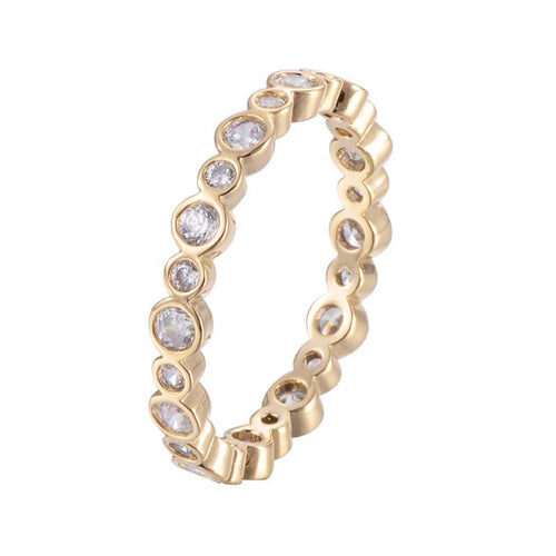 Connecting Dots - Round Diamond Loop Ring - Silver or Gold - Branded Royalty