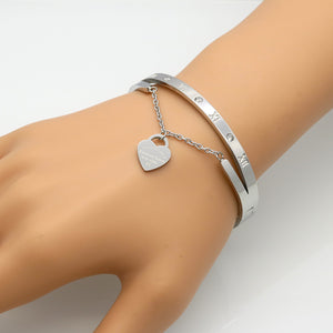 Roman Numeral Bangle Bracelet (Gold, Silver and Rose Gold) - Branded Royalty