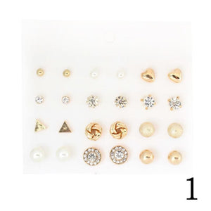 Dainty Slate of Stud Earrings - Set (12 pairs) - Gold or Silver - Branded Royalty