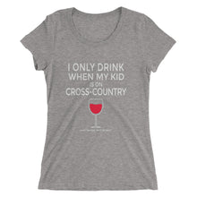 Drink when kid on XC - Red Wine- Ladies' short sleeve t-shirt - Form fitting