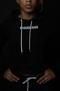 Progression Crop Hoodie Raven Black