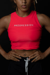 Electric Coral Sleeveless Progression Crop
