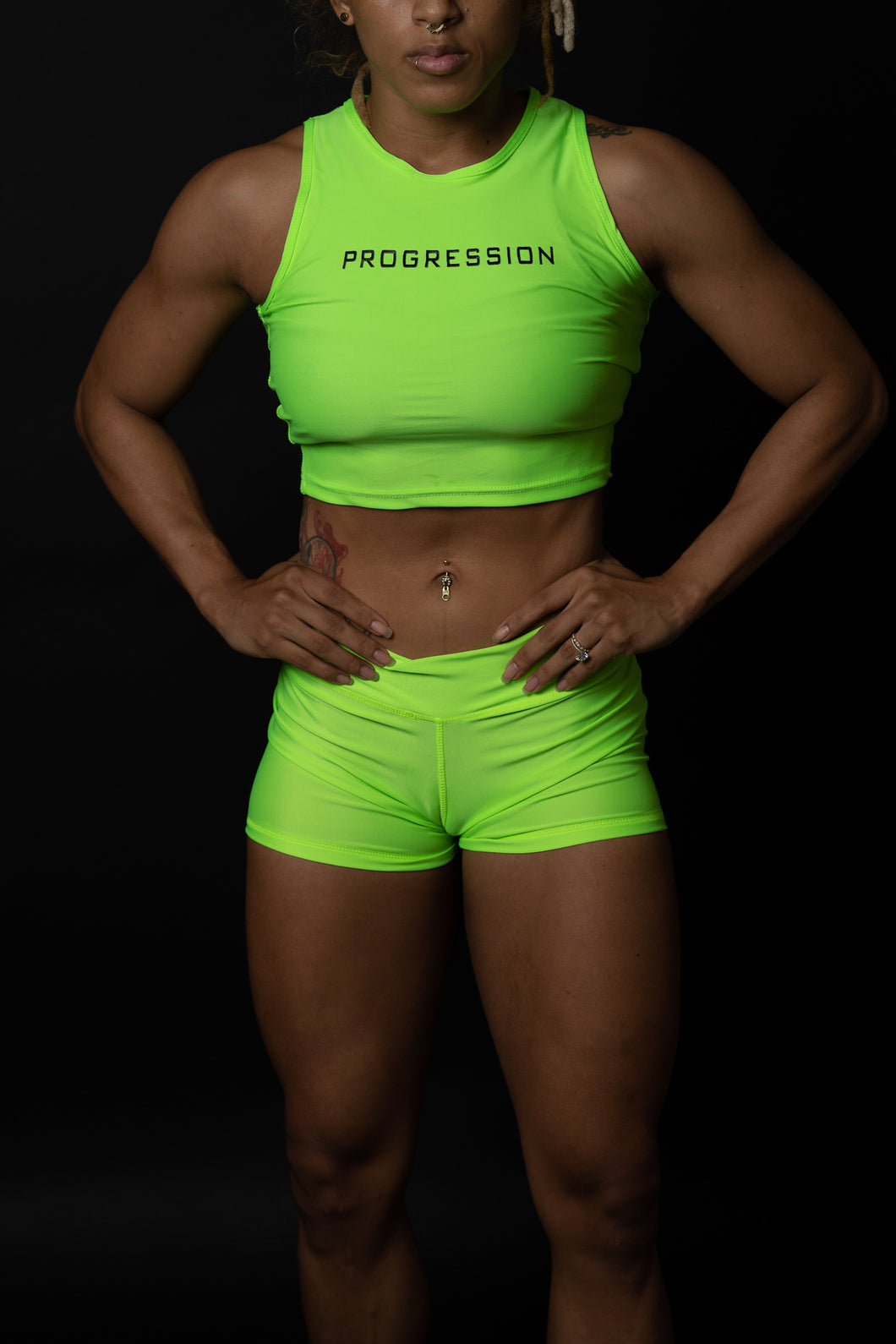 Electric Green Sleeveless Progression Crop