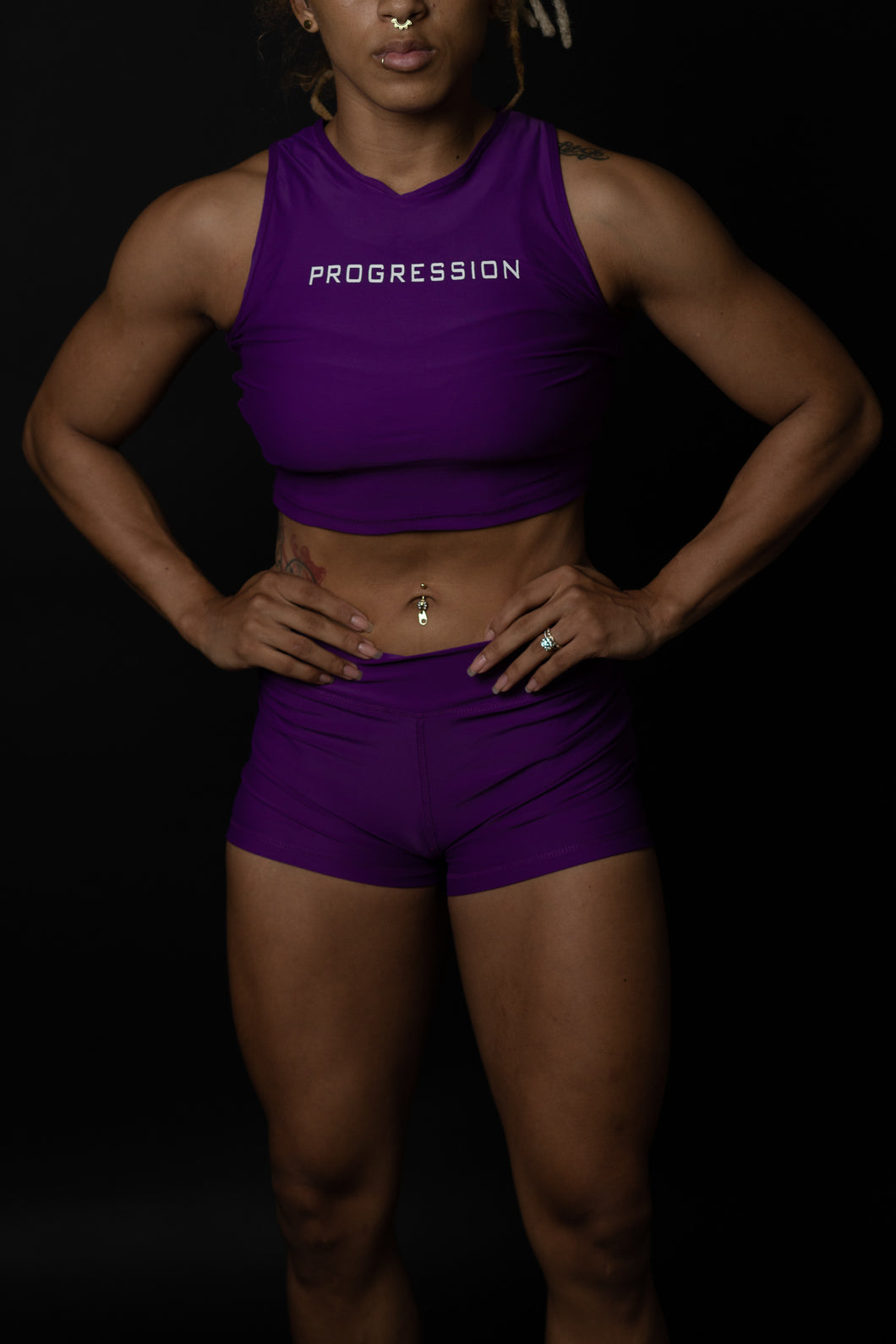 Electric Purple Sleeveless Progression Crop
