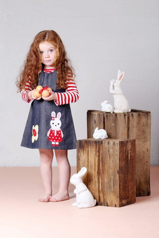Bluebird & Honey - Bunny Denim - Red & White Polka Lining Pinafore Dress-the little haven