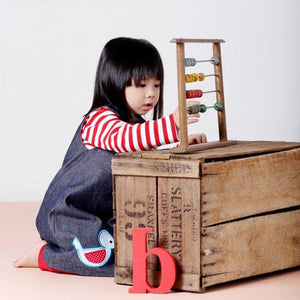 Bluebird & Honey - Elephant Denim - Red & White Polka Lining Pinafore Dress-the little haven