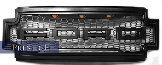 2017-2019 Ford F250 F350 F450 Super Duty Raptor Style Grille Includes F+R.Black