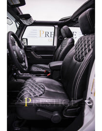 2013-2018 Jeep Wrangler JK 4DR Black Diamond with White Stiching Syn Leather Custom Seat Covers