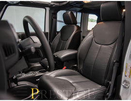 2013-2018 Jeep Wrangler JK 4DR Black with White Stitching Syn Leather Custom Seat Covers