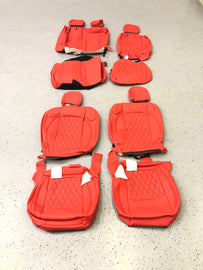 2018-2021 Jeep Wrangler JL 4 Door Syn Leather Seat Covers Kit-Red/Black Diamond