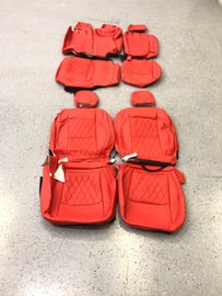 2018-2021 Jeep Wrangler JL 4 Door Syn Leather Seat Covers Kit-Red/Red Diamond