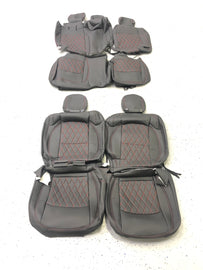 2018-2021 Jeep Wrangler JL 4 Door Syn Leather Seat Covers Kit-Black/Red Diamond